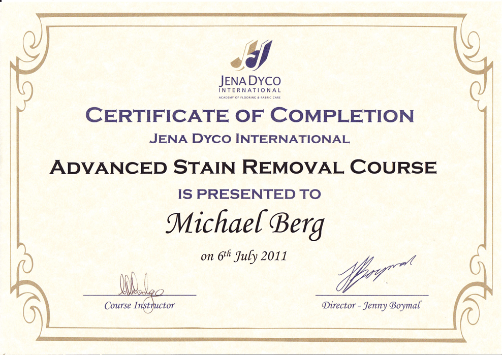 Michael-Berg-ADVANCED-STAIN-REMOVAL-Certificate